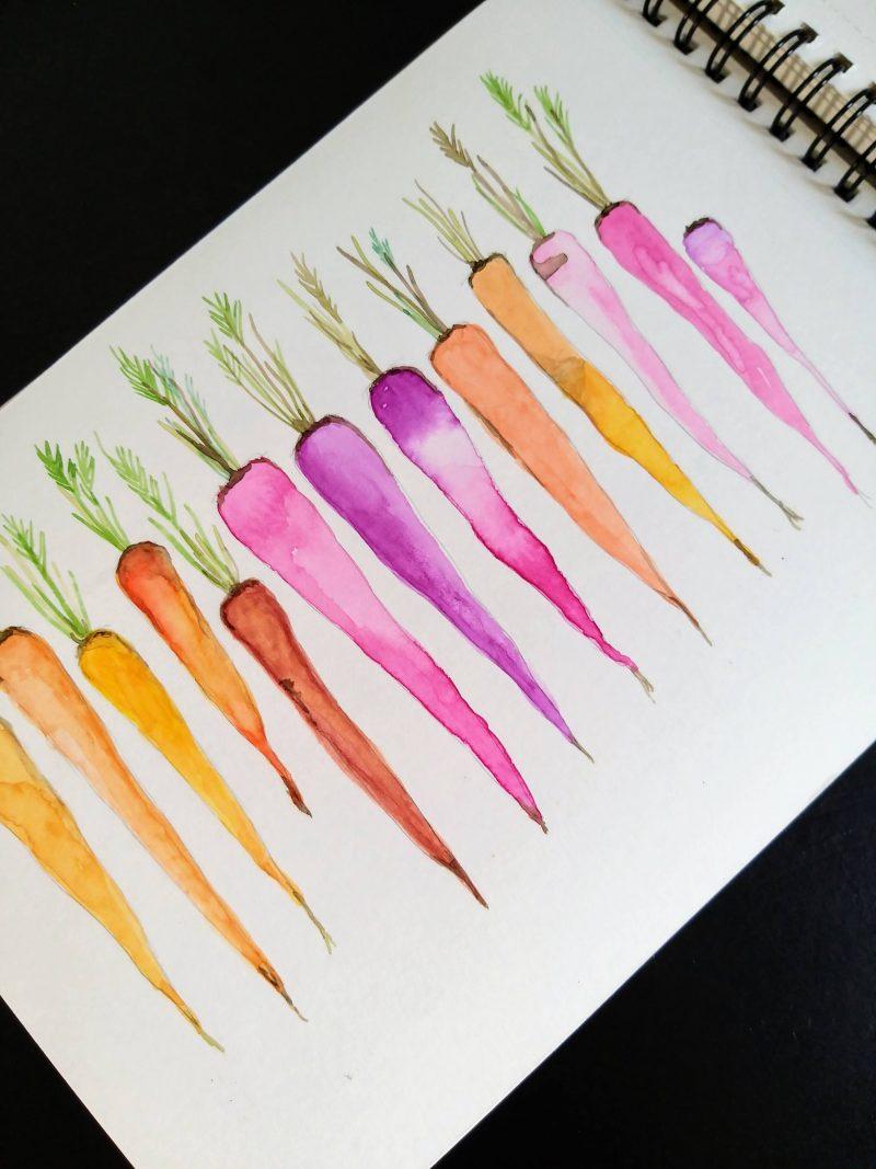 Waercolor - cenouras