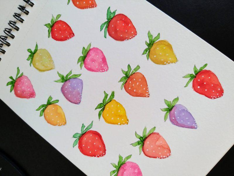 Watercolor - morangos
