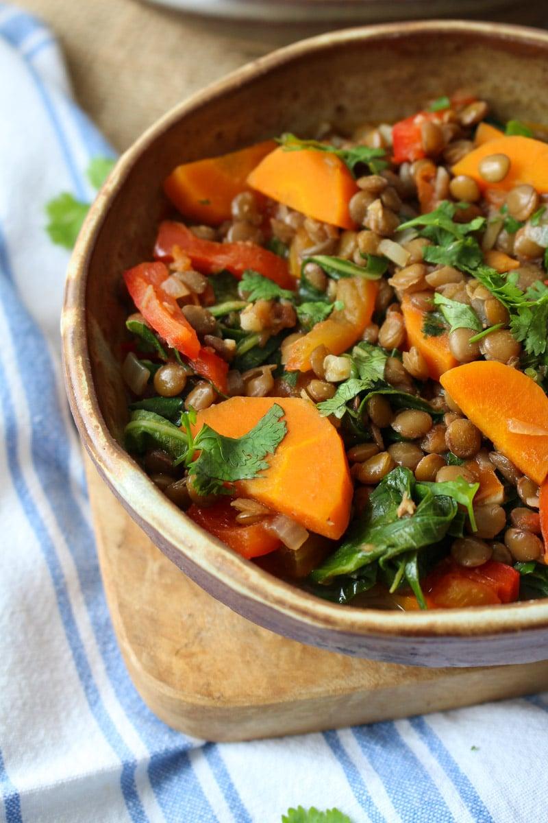 Cozido de lentilhas com taioba