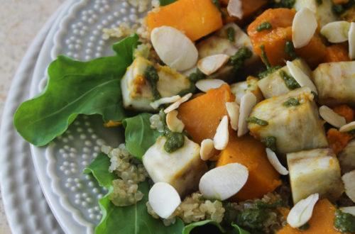Quinua com batata-doce e abóbora assada