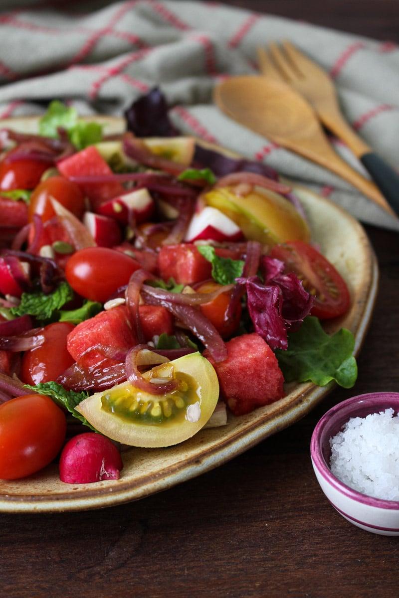 Salada de melancia e tomate