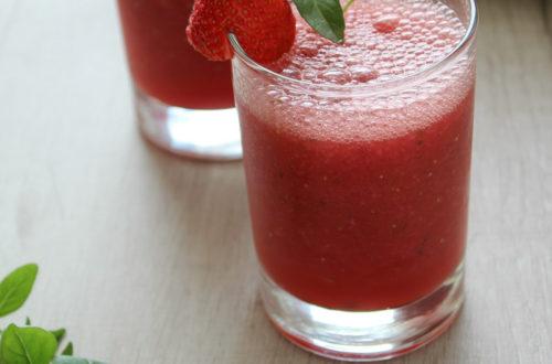 Suco de melancia e morango