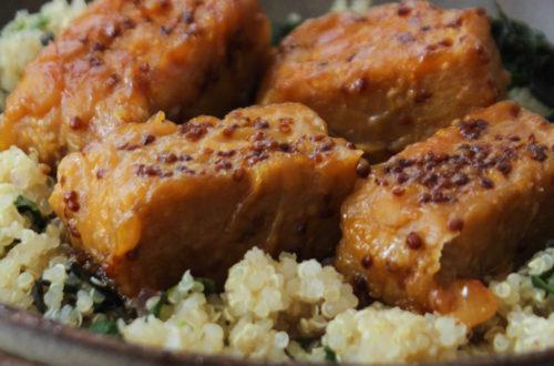 Tempeh marinado com mostarda e shoyu